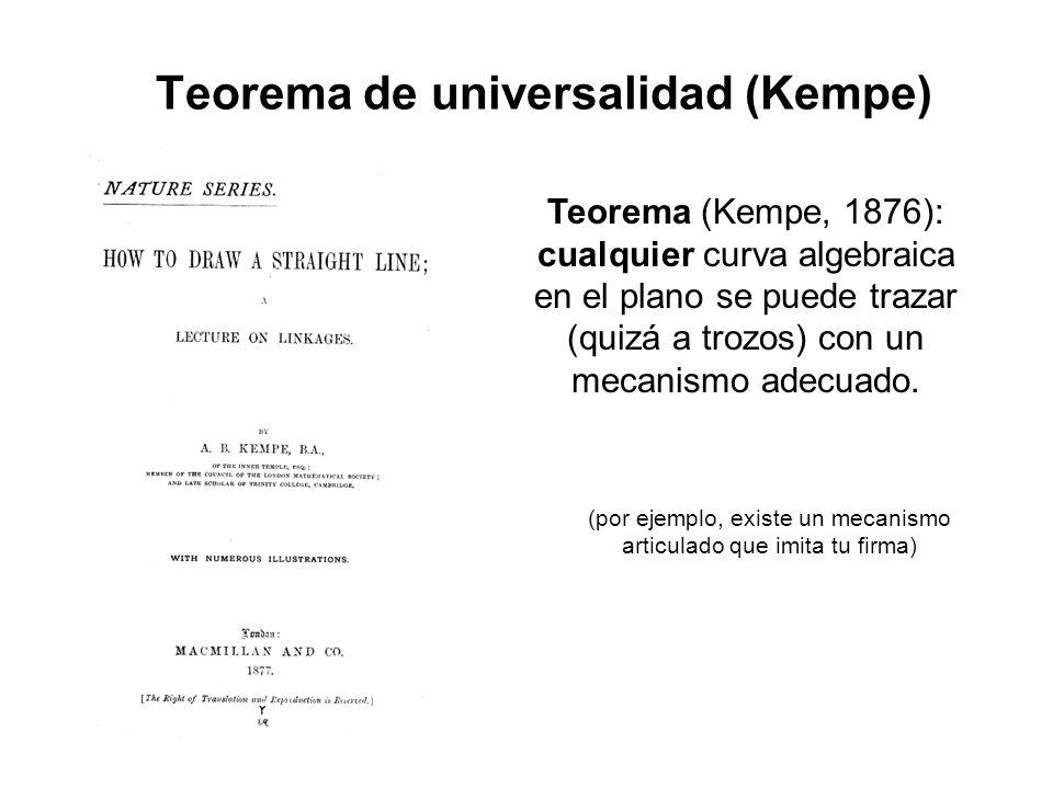 Teorema de universalidad (Kempe) Teorema (Kempe, 1876): cualquier curva algebraica en el plano se puede trazar (quizá a trozos) con un mecanismo adecuado.