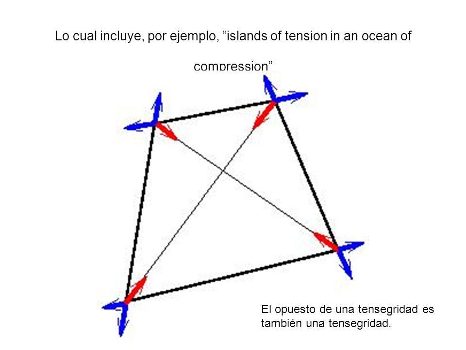 Lo cual incluye, por ejemplo, islands of tension in an ocean of compression El opuesto de una tensegridad es también una tensegridad.