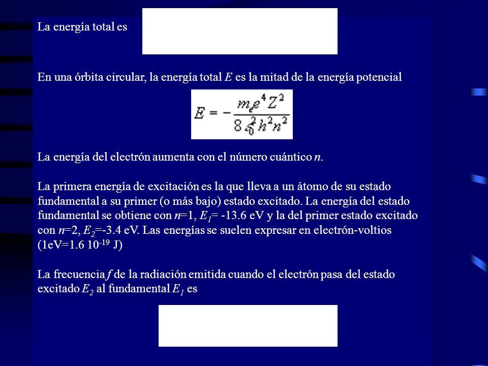 La energía total es En una órbita circular, la energía total E es la mitad de la energía potencial La energía del electrón aumenta con el número cuánt