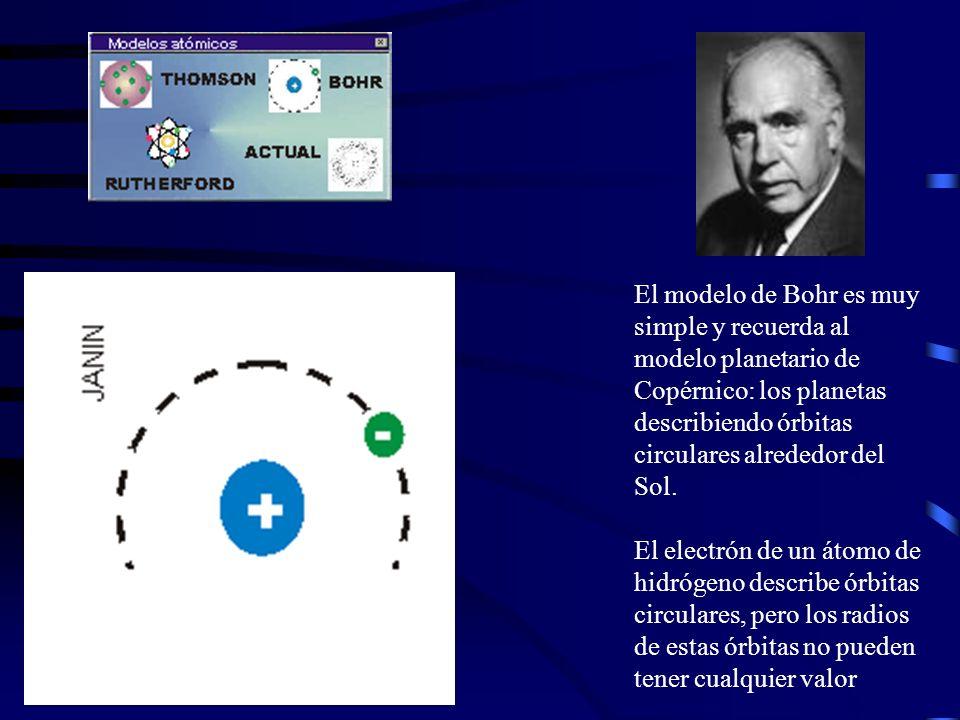 El modelo de Bohr es muy simple y recuerda al modelo planetario de Copérnico: los planetas describiendo órbitas circulares alrededor del Sol. El elect