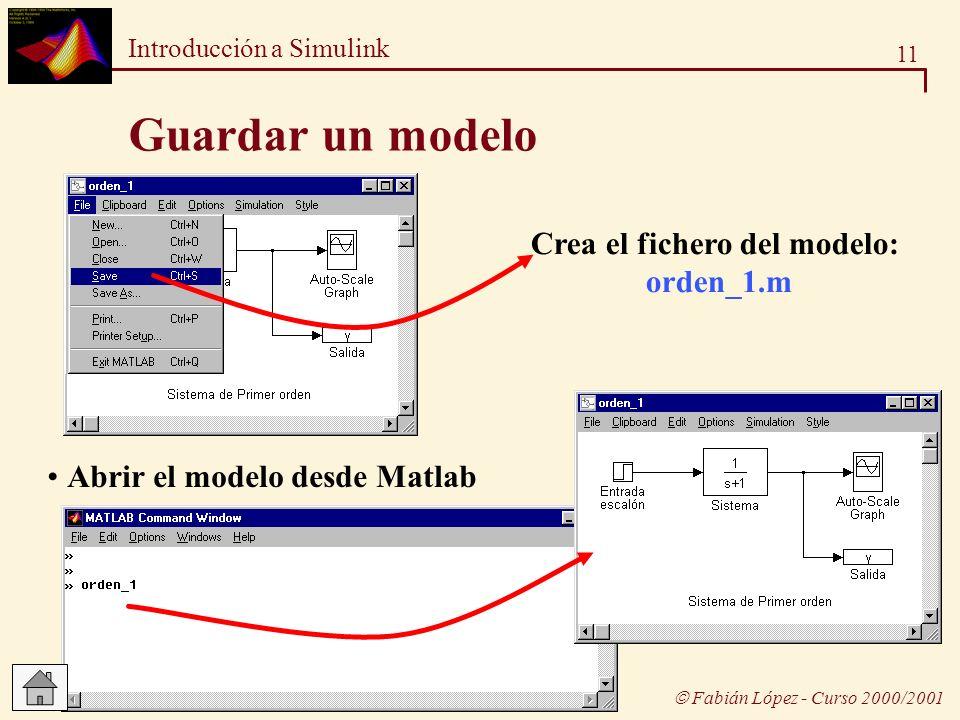 11 Introducción a Simulink Fabián López - Curso 2000/2001 Guardar un modelo Crea el fichero del modelo: orden_1.m Abrir el modelo desde Matlab