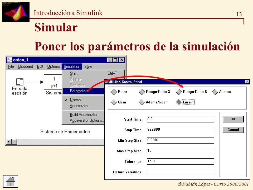 13 Introducción a Simulink Fabián López - Curso 2000/2001 Poner los parámetros de la simulación Simular