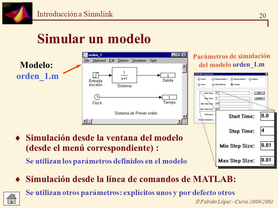 20 Introducción a Simulink Fabián López - Curso 2000/2001 Simular un modelo Modelo: orden_1.m Parámetros de simulación del modelo orden_1.m Simulación