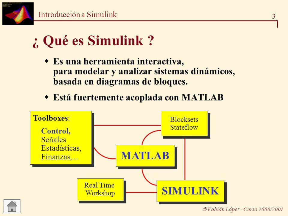4 Introducción a Simulink Fabián López - Curso 2000/2001 Crear un modelo Editar un modelo Abrir la ventana de un nuevo modelo Conectar los bloques Añadir bloques Cambiar el tamaño de los bloques Modificar etiquetas y añadir anotaciones Parametrizar los bloques Guardar un modelo (formato M-File) Abrir un modelo desde Matlab