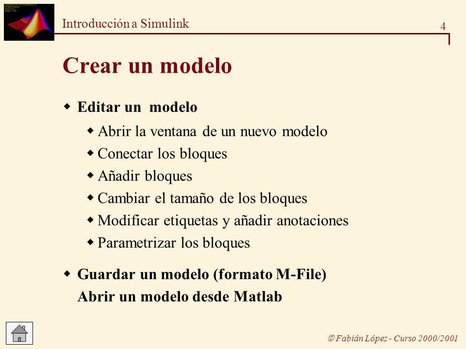 4 Introducción a Simulink Fabián López - Curso 2000/2001 Crear un modelo Editar un modelo Abrir la ventana de un nuevo modelo Conectar los bloques Aña