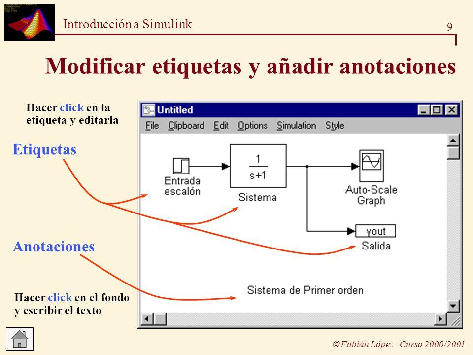 20 Introducción a Simulink Fabián López - Curso 2000/2001 Simular un modelo Modelo: orden_1.m Parámetros de simulación del modelo orden_1.m Simulación desde la ventana del modelo (desde el menú correspondiente) : Se utilizan los parámetros definidos en el modelo Simulación desde la línea de comandos de MATLAB: Se utilizan otros parámetros: explícitos unos y por defecto otros
