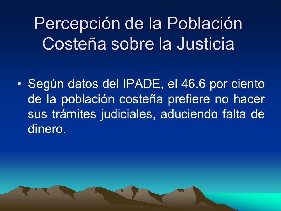 Percepción de la Población Costeña sobre la Justicia Según datos del IPADE, el 46.6 por ciento de la población costeña prefiere no hacer sus trámites judiciales, aduciendo falta de dinero.