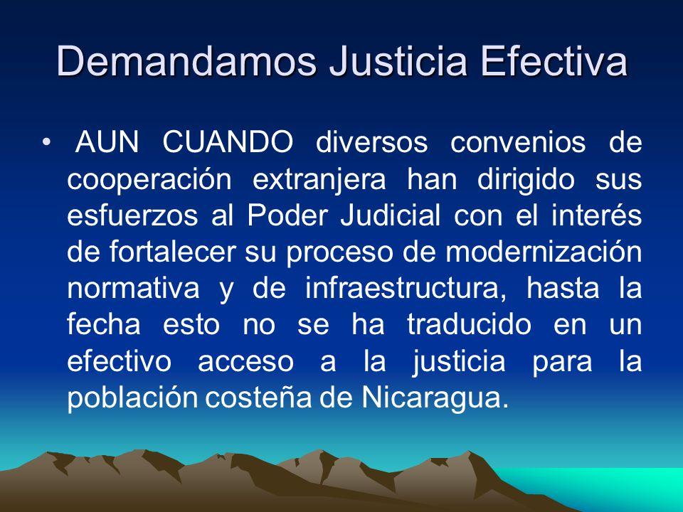 Demandamos Justicia Efectiva AUN CUANDO diversos convenios de cooperación extranjera han dirigido sus esfuerzos al Poder Judicial con el interés de fortalecer su proceso de modernización normativa y de infraestructura, hasta la fecha esto no se ha traducido en un efectivo acceso a la justicia para la población costeña de Nicaragua.