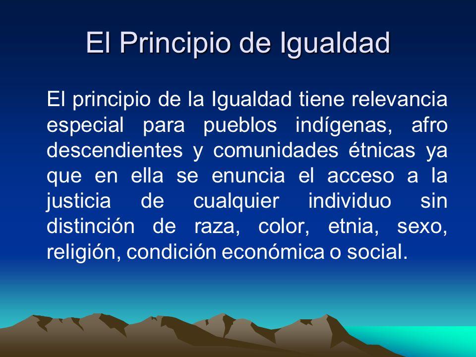 El Principio de Igualdad El principio de la Igualdad tiene relevancia especial para pueblos indígenas, afro descendientes y comunidades étnicas ya que en ella se enuncia el acceso a la justicia de cualquier individuo sin distinción de raza, color, etnia, sexo, religión, condición económica o social.