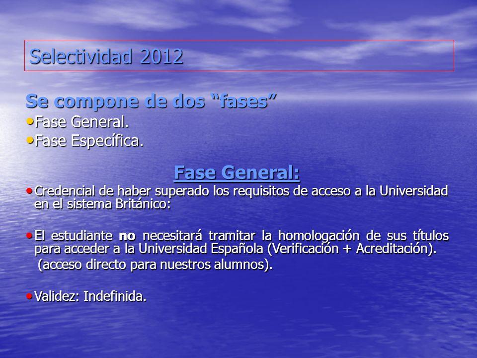 Selectividad 2012 Se compone de dos fases Fase General. Fase General. Fase Específica. Fase Específica. Fase General: Credencial de haber superado los
