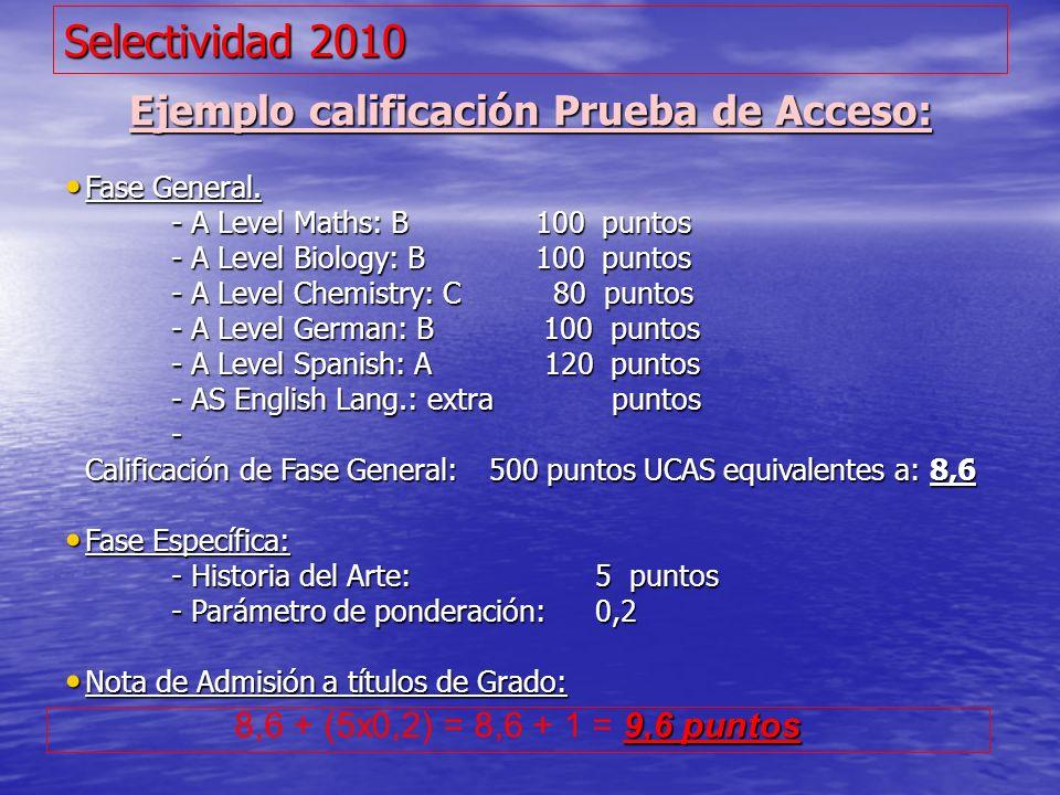 Selectividad 2010 Ejemplo calificación Prueba de Acceso: Fase General. Fase General. - A Level Maths: B 100 puntos - A Level Biology: B 100 puntos - A