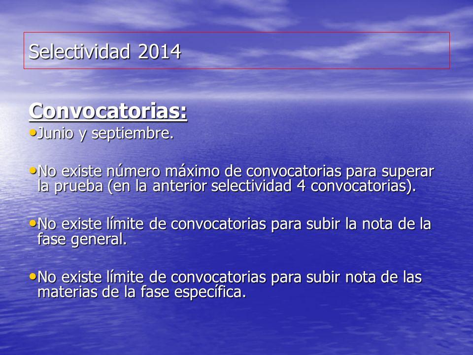 Selectividad 2014 Convocatorias: Junio y septiembre. Junio y septiembre. No existe número máximo de convocatorias para superar la prueba (en la anteri