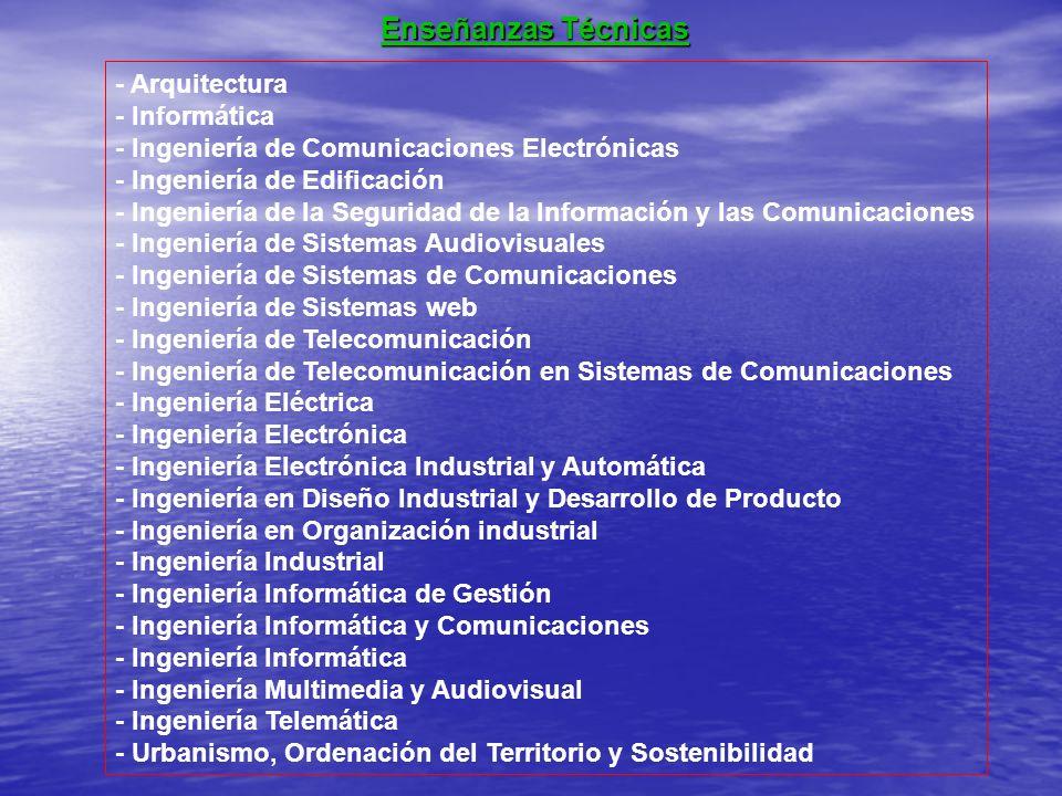 - Arquitectura - Informática - Ingeniería de Comunicaciones Electrónicas - Ingeniería de Edificación - Ingeniería de la Seguridad de la Información y
