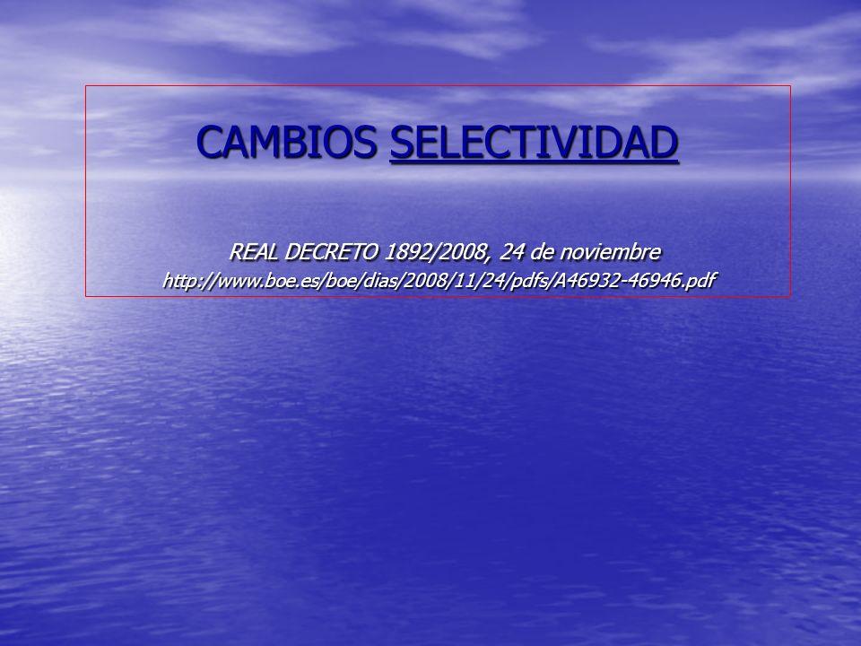 Selectividad 2012 Se compone de dos fases Fase General.
