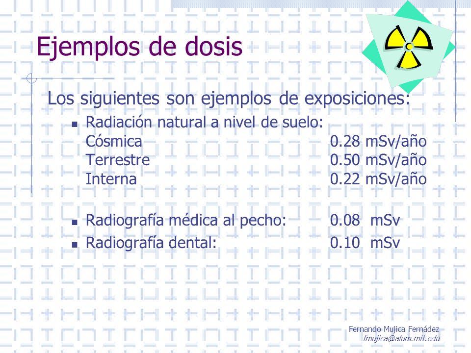 Fernando Mujica Fernádez fmujica@alum.mit.edu Ejemplos de dosis Los siguientes son ejemplos de exposiciones: Radiación natural a nivel de suelo: Cósmi