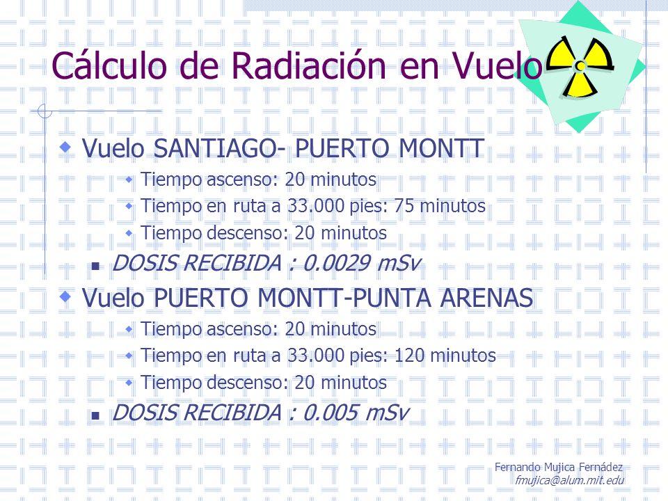 Fernando Mujica Fernádez fmujica@alum.mit.edu Cálculo de Radiación en Vuelo Vuelo SANTIAGO- PUERTO MONTT Tiempo ascenso: 20 minutos Tiempo en ruta a 3