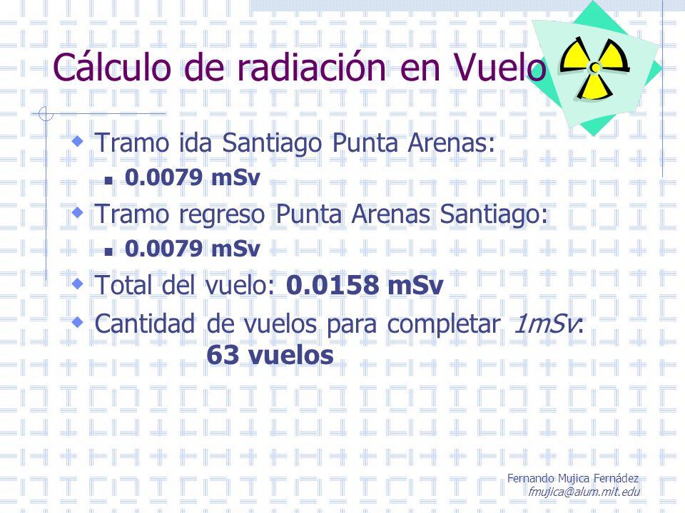 Fernando Mujica Fernádez fmujica@alum.mit.edu Cálculo de radiación en Vuelo Tramo ida Santiago Punta Arenas: 0.0079 mSv Tramo regreso Punta Arenas San