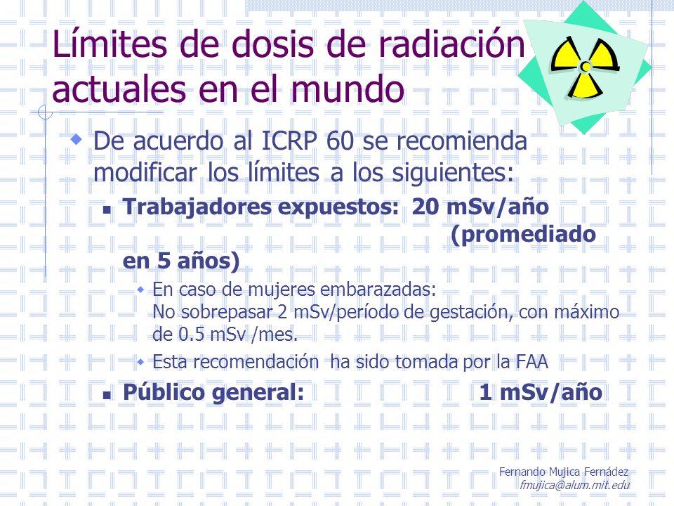 Fernando Mujica Fernádez fmujica@alum.mit.edu Límites de dosis de radiación actuales en el mundo De acuerdo al ICRP 60 se recomienda modificar los lím