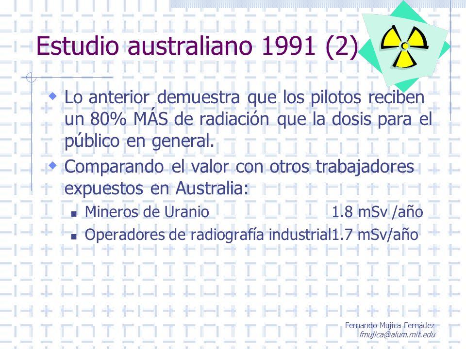 Fernando Mujica Fernádez fmujica@alum.mit.edu Estudio australiano 1991 (2) Lo anterior demuestra que los pilotos reciben un 80% MÁS de radiación que l