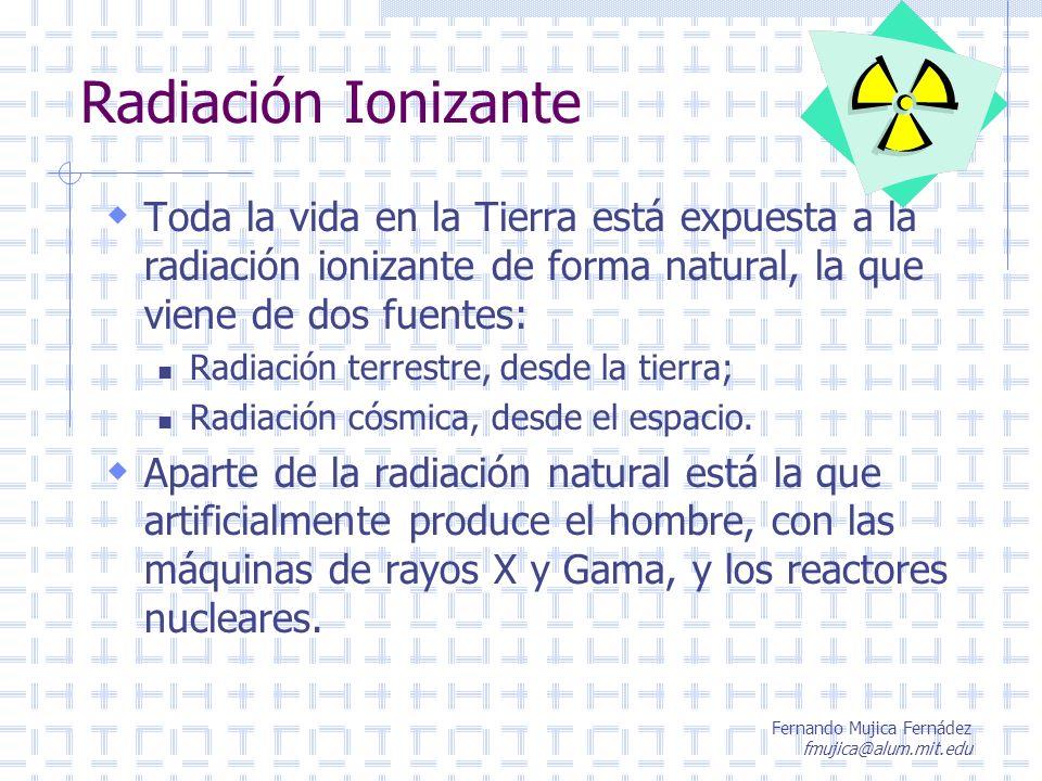 Fernando Mujica Fernádez fmujica@alum.mit.edu Radiación Ionizante Toda la vida en la Tierra está expuesta a la radiación ionizante de forma natural, l