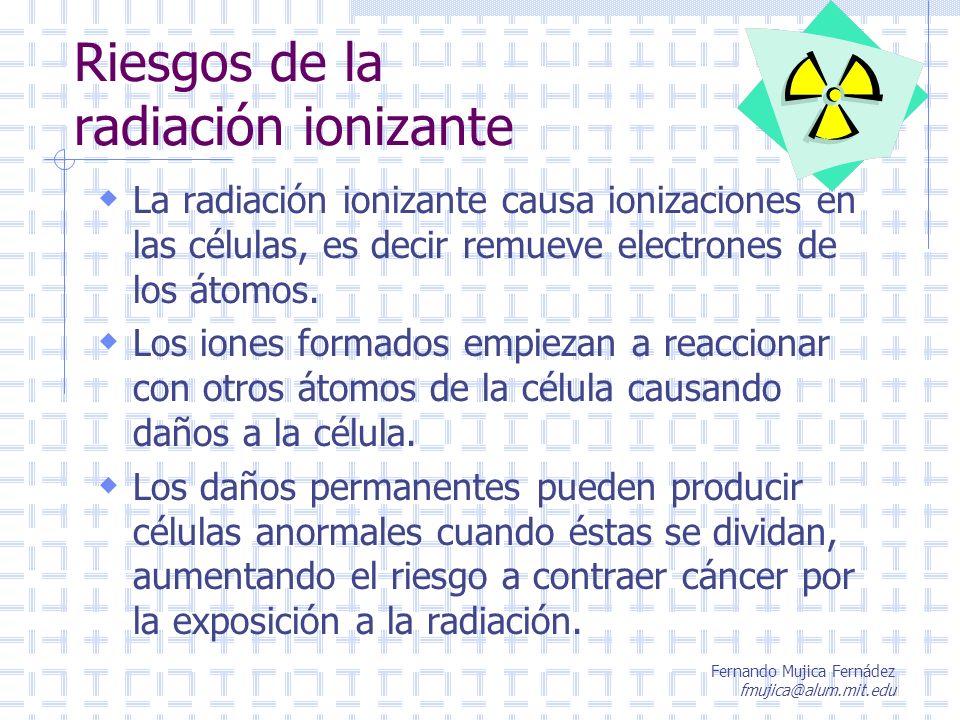 Fernando Mujica Fernádez fmujica@alum.mit.edu Límites de dosis de radiación actuales en el mundo De acuerdo al ICRP 60 se recomienda modificar los límites a los siguientes: Trabajadores expuestos: 20 mSv/año (promediado en 5 años) En caso de mujeres embarazadas: No sobrepasar 2 mSv/período de gestación, con máximo de 0.5 mSv /mes.