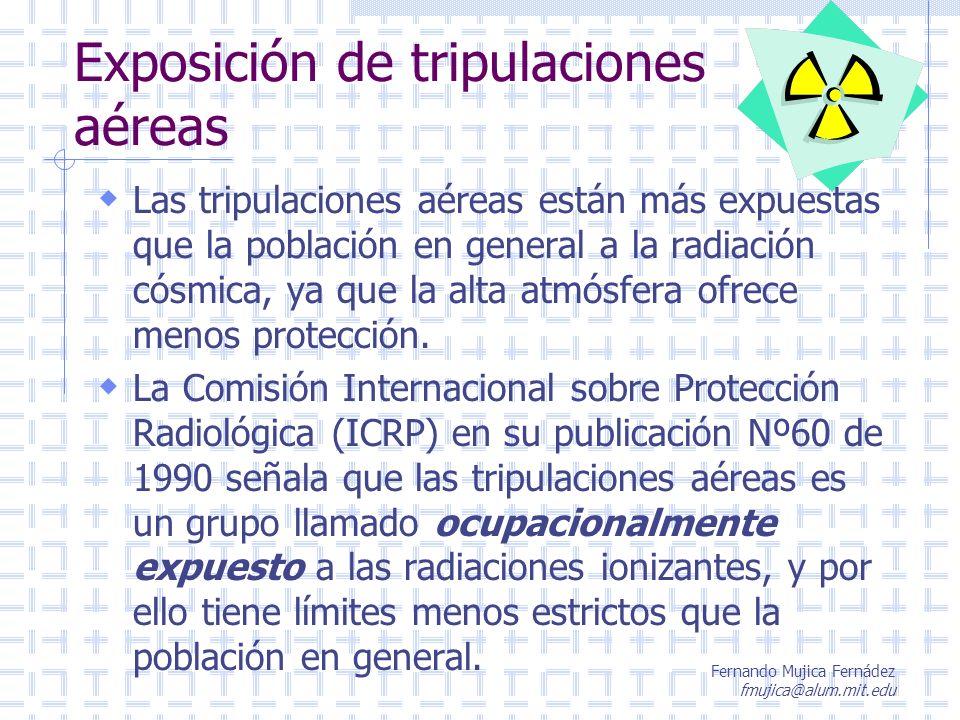 Fernando Mujica Fernádez fmujica@alum.mit.edu Protección a la Radiación La exposición a la radiación debe mantenerse a un mínimo para efectuar una labor.
