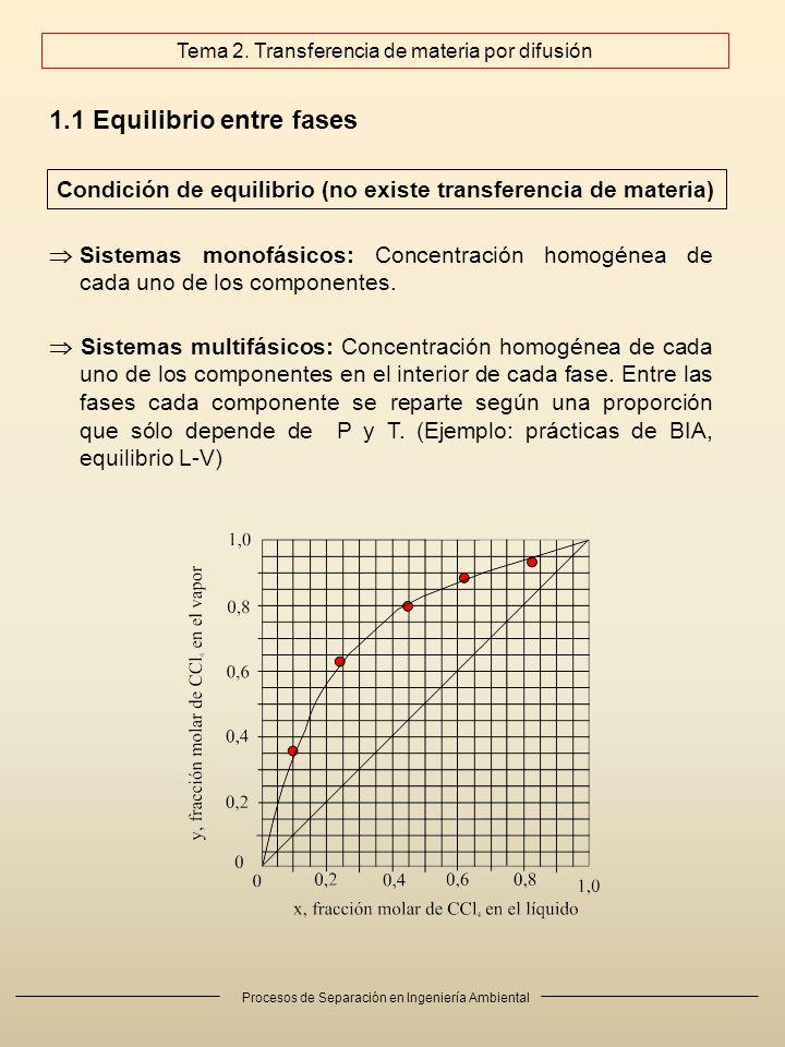 Procesos de Separación en Ingeniería Ambiental 1.1 Equilibrio entre fases Sistemas monofásicos: Concentración homogénea de cada uno de los componentes.