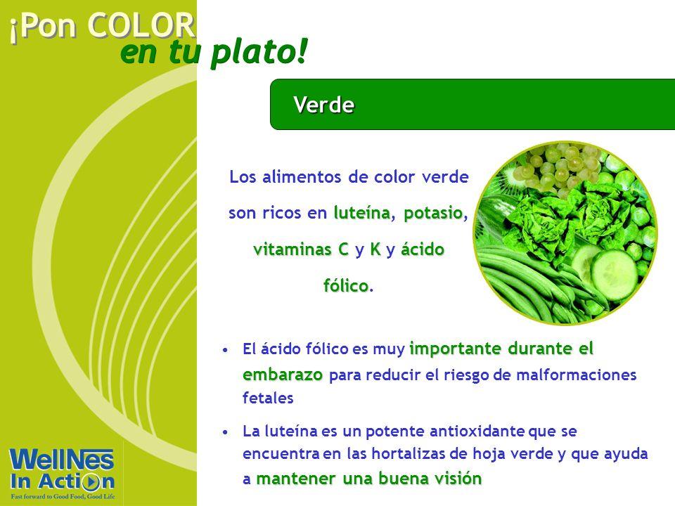 en tu plato! ¡Pon COLOR Verde luteínapotasio vitaminas CKácido fólico Los alimentos de color verde son ricos en luteína, potasio, vitaminas C y K y ác