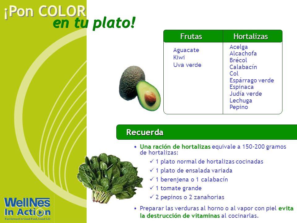en tu plato! ¡Pon COLOR Recuerda Una ración de hortalizasUna ración de hortalizas equivale a 150-200 gramos de hortalizas: 1 plato normal de hortaliza