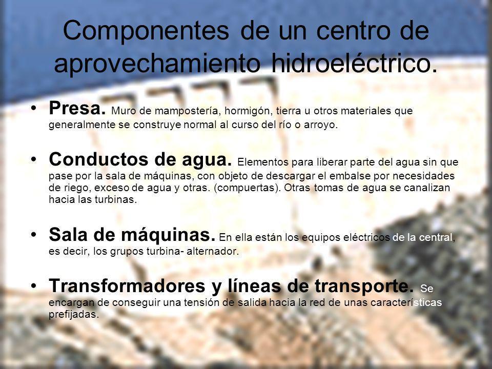 Componentes de un centro de aprovechamiento hidroeléctrico.