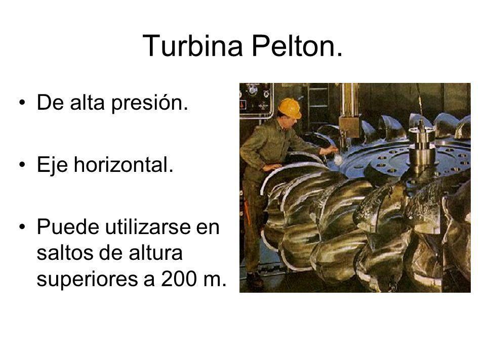 Turbina Pelton.De alta presión. Eje horizontal.