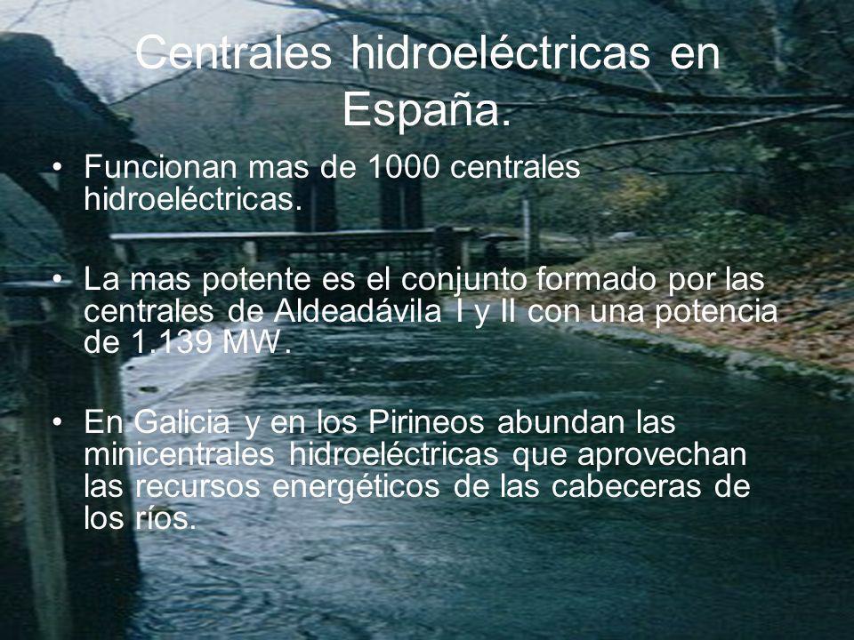 Centrales hidroeléctricas en España.Funcionan mas de 1000 centrales hidroeléctricas.