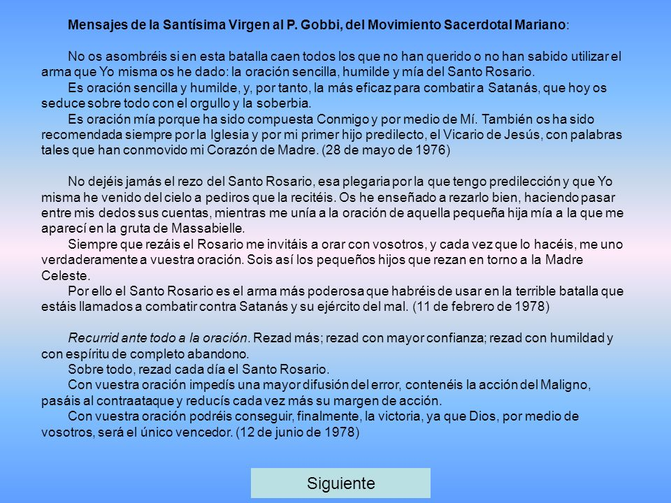 Mensajes de la Santísima Virgen al P.