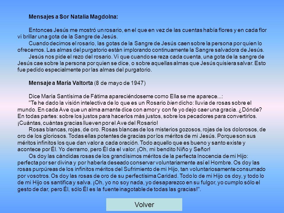 Mensajes a Sor Natalia Magdolna: Entonces Jesús me mostró un rosario, en el que en vez de las cuentas había flores y en cada flor vi brillar una gota de la Sangre de Jesús.