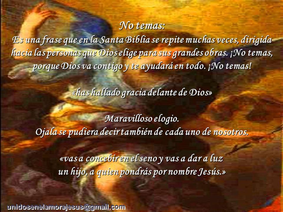 « Ella se conturbó por estas palabras, y preguntaba qué significaría aquel saludo. El ángel le dijo: «No temas, María, porque has hallado gracia delan