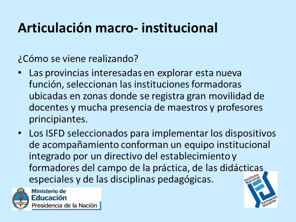 Articulación macro- institucional ¿Cómo se viene realizando? Las provincias interesadas en explorar esta nueva función, seleccionan las instituciones