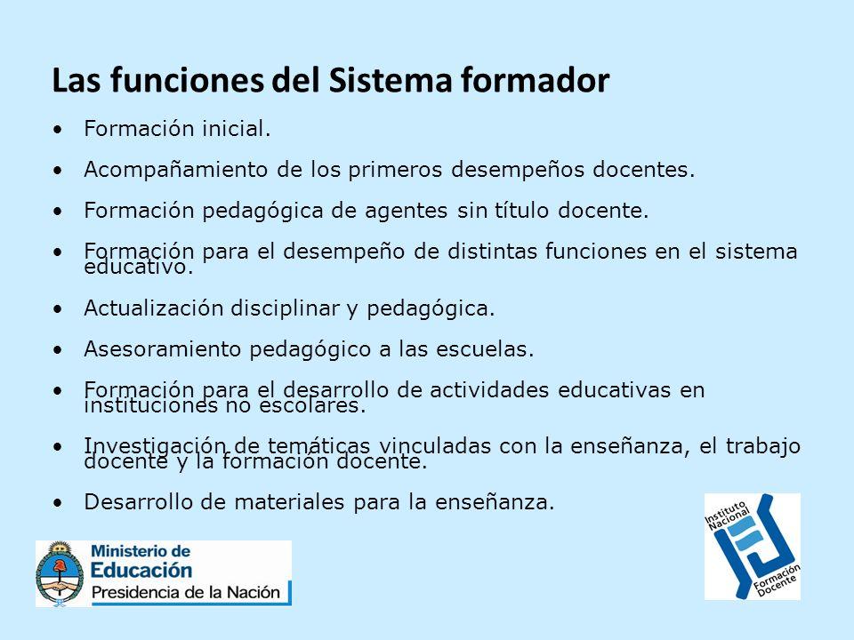 Las funciones del Sistema formador Formación inicial. Acompañamiento de los primeros desempeños docentes. Formación pedagógica de agentes sin título d