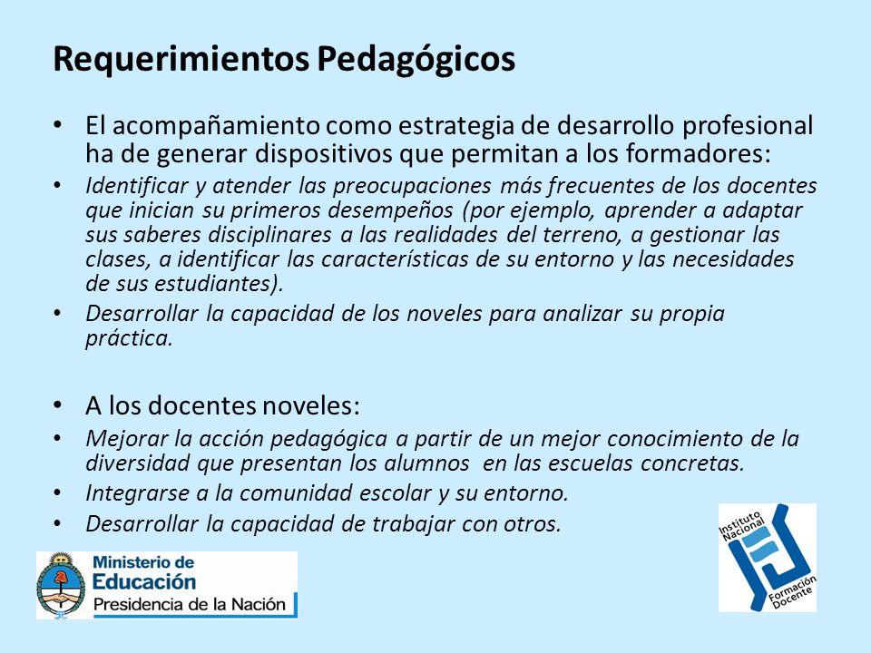 Requerimientos Pedagógicos El acompañamiento como estrategia de desarrollo profesional ha de generar dispositivos que permitan a los formadores: Ident