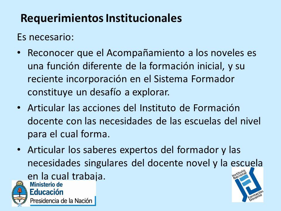 Requerimientos Institucionales Es necesario: Reconocer que el Acompañamiento a los noveles es una función diferente de la formación inicial, y su reci