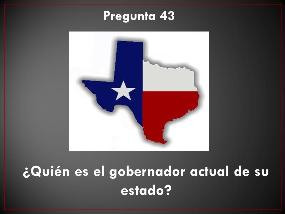 ¿Quién es el gobernador actual de su estado? Pregunta 43