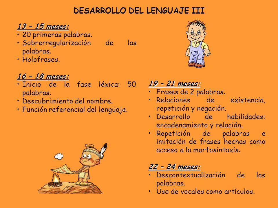 DESARROLLO DEL LENGUAJE III 13 – 15 meses: 20 primeras palabras. Sobrerregularización de las palabras. Holofrases. 16 – 18 meses: Inicio de la fase lé