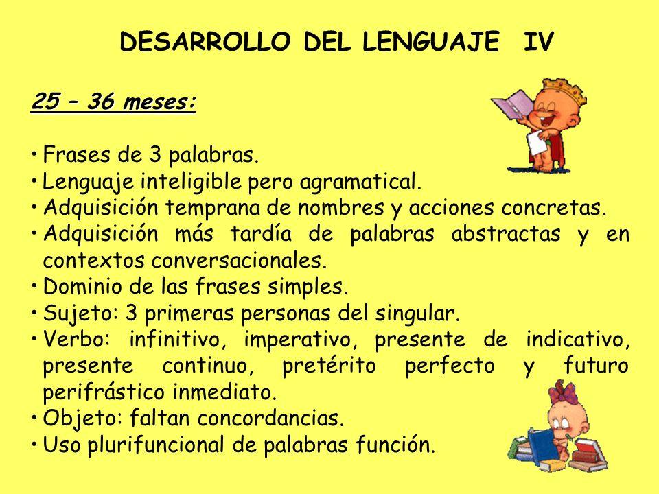 DESARROLLO DEL LENGUAJE IV 25 – 36 meses: Frases de 3 palabras. Lenguaje inteligible pero agramatical. Adquisición temprana de nombres y acciones conc