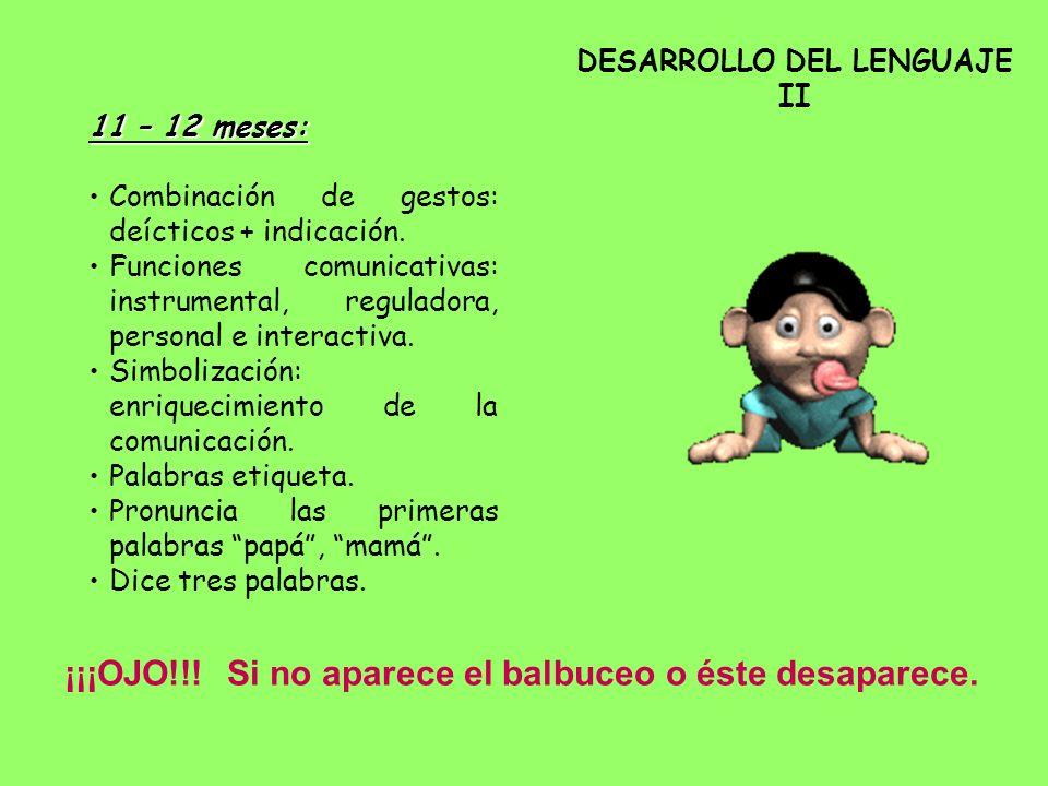 DESARROLLO DEL LENGUAJE II 11 – 12 meses: Combinación de gestos: deícticos + indicación. Funciones comunicativas: instrumental, reguladora, personal e
