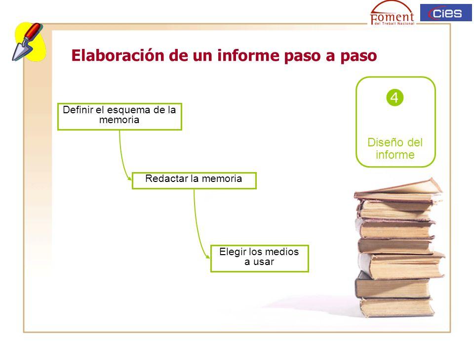 Elaboración de un informe paso a paso Diseño del informe Definir el esquema de la memoria Redactar la memoria Elegir los medios a usar
