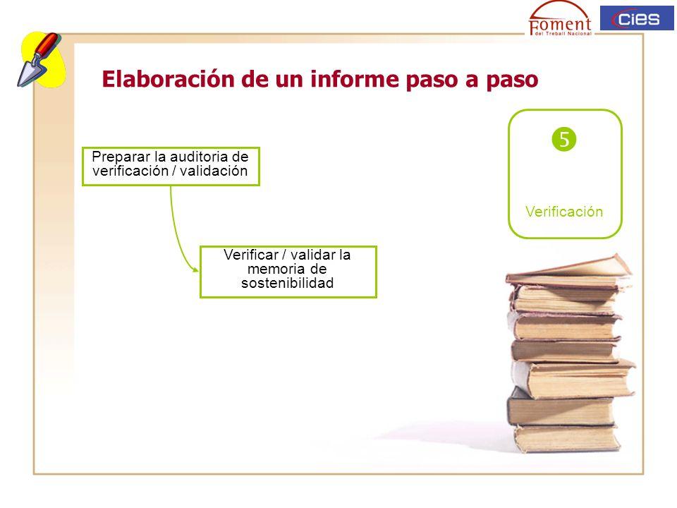 Elaboración de un informe paso a paso Verificación Preparar la auditoria de verificación / validación Verificar / validar la memoria de sostenibilidad