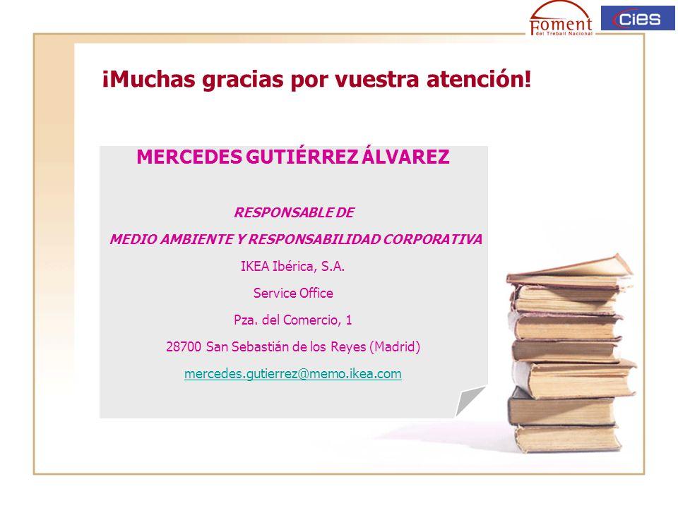 ¡Muchas gracias por vuestra atención! MERCEDES GUTIÉRREZ ÁLVAREZ RESPONSABLE DE MEDIO AMBIENTE Y RESPONSABILIDAD CORPORATIVA IKEA Ibérica, S.A. Servic