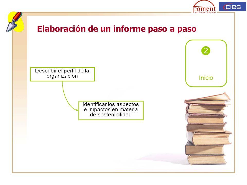 Elaboración de un informe paso a paso Inicio Describir el perfil de la organización Identificar los aspectos e impactos en materia de sostenibilidad