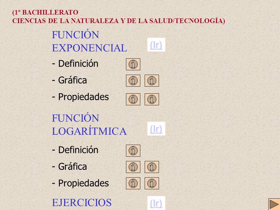 FUNCIÓN EXPONENCIAL - Definición - Gráfica - Propiedades FUNCIÓN LOGARÍTMICA - Definición - Gráfica - Propiedades (Ir) (1º BACHILLERATO CIENCIAS DE LA NATURALEZA Y DE LA SALUD/TECNOLOGÍA) EJERCICIOS (Ir)