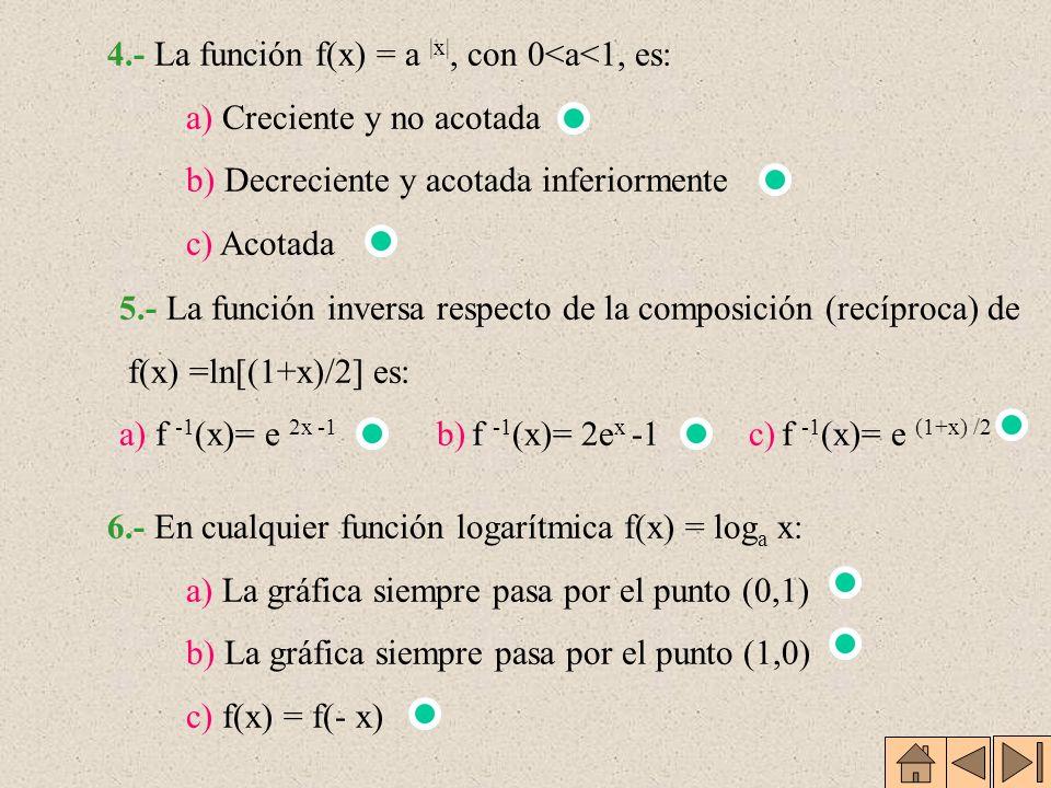 EJERCICIOS 1.- El cero de la función f(x) = log 2 x - 2 x es: a) 0 b) no existe c) 2 2.- a) +b) 0 c) - 3.- La función f(x) = log 1/3 x es una función: