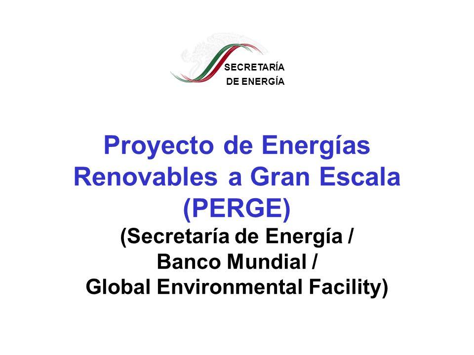 SECRETARÍA DE ENERGÍA Objetivo Impulsar y acelerar la comercialización de las energías renovables en México, en particular en conexión con la red eléctrica, con el fin de reducir las emisiones de gases de efecto invernadero y de otros gases, enfrentar el aumento en la demanda de energía, y cumplir con las necesidades de diversificación de fuentes de energía, indispensable para un crecimiento económico sustentable